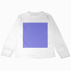 Friendly Houndstooth Pattern,blue Kids Long Sleeve T Shirts