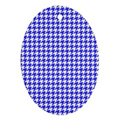 Friendly Houndstooth Pattern,blue Oval Ornament (two Sides)