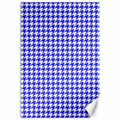 Friendly Houndstooth Pattern,blue Canvas 12  X 18