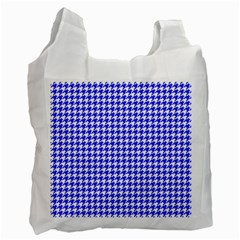 Friendly Houndstooth Pattern,blue Recycle Bag (one Side)
