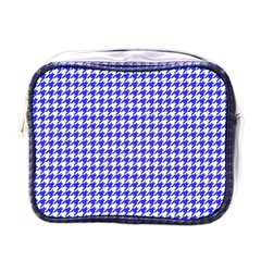 Friendly Houndstooth Pattern,blue Mini Toiletries Bags