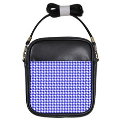 Friendly Houndstooth Pattern,blue Girls Sling Bags