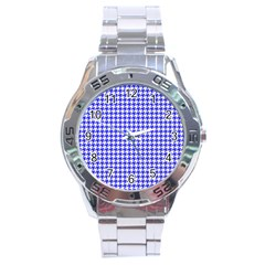 Friendly Houndstooth Pattern,blue Stainless Steel Analogue Watch