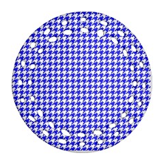 Friendly Houndstooth Pattern,blue Round Filigree Ornament (two Sides)