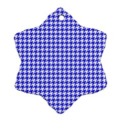 Friendly Houndstooth Pattern,blue Snowflake Ornament (two Sides)
