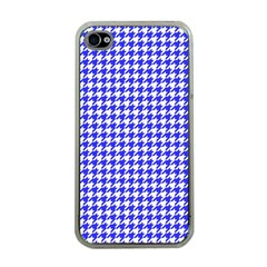 Friendly Houndstooth Pattern,blue Apple Iphone 4 Case (clear)
