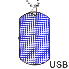 Friendly Houndstooth Pattern,blue Dog Tag Usb Flash (two Sides)