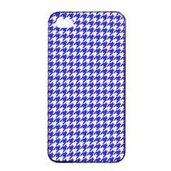 Friendly Houndstooth Pattern,blue Apple Iphone 4/4s Seamless Case (black)