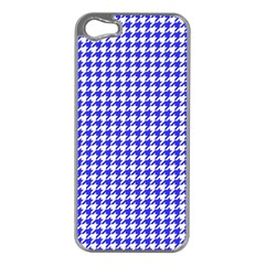 Friendly Houndstooth Pattern,blue Apple Iphone 5 Case (silver)