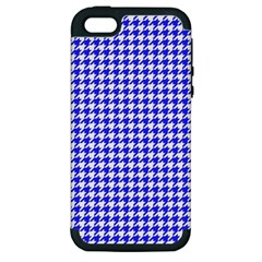 Friendly Houndstooth Pattern,blue Apple Iphone 5 Hardshell Case (pc+silicone)