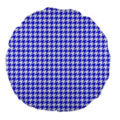 Friendly Houndstooth Pattern,blue Large 18  Premium Round Cushions