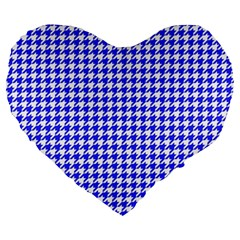 Friendly Houndstooth Pattern,blue Large 19  Premium Heart Shape Cushions