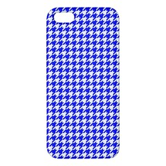 Friendly Houndstooth Pattern,blue Apple Iphone 5 Premium Hardshell Case