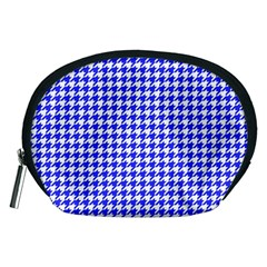 Friendly Houndstooth Pattern,blue Accessory Pouches (medium)