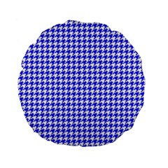 Friendly Houndstooth Pattern,blue Standard 15  Premium Flano Round Cushions