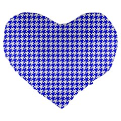 Friendly Houndstooth Pattern,blue Large 19  Premium Flano Heart Shape Cushions