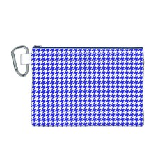 Friendly Houndstooth Pattern,blue Canvas Cosmetic Bag (m)