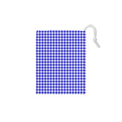 Friendly Houndstooth Pattern,blue Drawstring Pouches (xs)