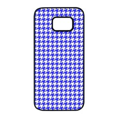Friendly Houndstooth Pattern,blue Samsung Galaxy S7 Edge Black Seamless Case