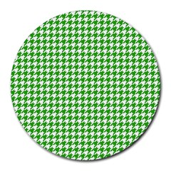 Friendly Houndstooth Pattern,green Round Mousepads