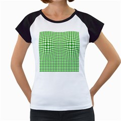 Friendly Houndstooth Pattern,green Women s Cap Sleeve T