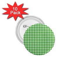Friendly Houndstooth Pattern,green 1 75  Buttons (10 Pack)