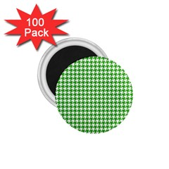 Friendly Houndstooth Pattern,green 1 75  Magnets (100 Pack)