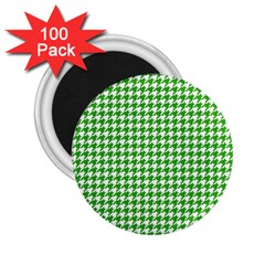 Friendly Houndstooth Pattern,green 2 25  Magnets (100 Pack)