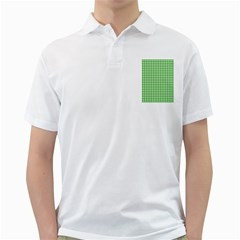 Friendly Houndstooth Pattern,green Golf Shirts