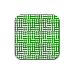 Friendly Houndstooth Pattern,green Rubber Coaster (square)