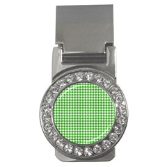 Friendly Houndstooth Pattern,green Money Clips (cz)