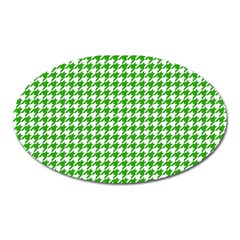 Friendly Houndstooth Pattern,green Oval Magnet