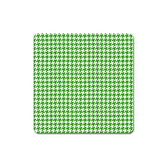Friendly Houndstooth Pattern,green Square Magnet