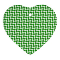 Friendly Houndstooth Pattern,green Heart Ornament (two Sides)