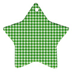 Friendly Houndstooth Pattern,green Star Ornament (two Sides)