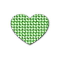 Friendly Houndstooth Pattern,green Heart Coaster (4 Pack)