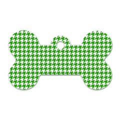 Friendly Houndstooth Pattern,green Dog Tag Bone (two Sides)