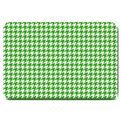 Friendly Houndstooth Pattern,green Large Doormat