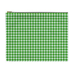Friendly Houndstooth Pattern,green Cosmetic Bag (xl)