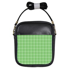 Friendly Houndstooth Pattern,green Girls Sling Bags