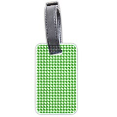 Friendly Houndstooth Pattern,green Luggage Tags (two Sides)