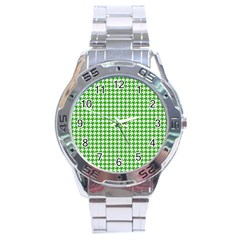 Friendly Houndstooth Pattern,green Stainless Steel Analogue Watch