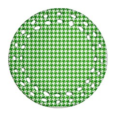 Friendly Houndstooth Pattern,green Round Filigree Ornament (two Sides)