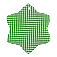 Friendly Houndstooth Pattern,green Snowflake Ornament (two Sides)