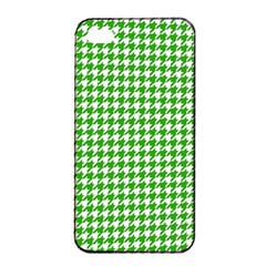 Friendly Houndstooth Pattern,green Apple Iphone 4/4s Seamless Case (black)