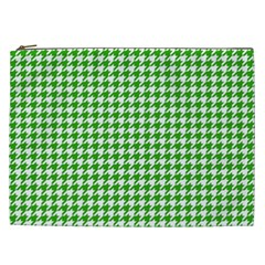 Friendly Houndstooth Pattern,green Cosmetic Bag (xxl)