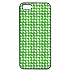 Friendly Houndstooth Pattern,green Apple Iphone 5 Seamless Case (black)