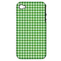 Friendly Houndstooth Pattern,green Apple Iphone 4/4s Hardshell Case (pc+silicone)