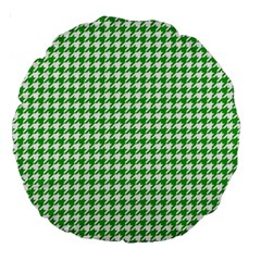 Friendly Houndstooth Pattern,green Large 18  Premium Round Cushions