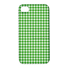Friendly Houndstooth Pattern,green Apple Iphone 4/4s Hardshell Case With Stand